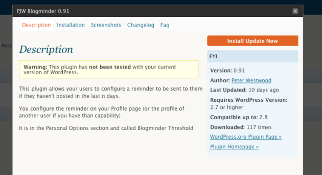 The view of the changelog in the WordPress admin pages