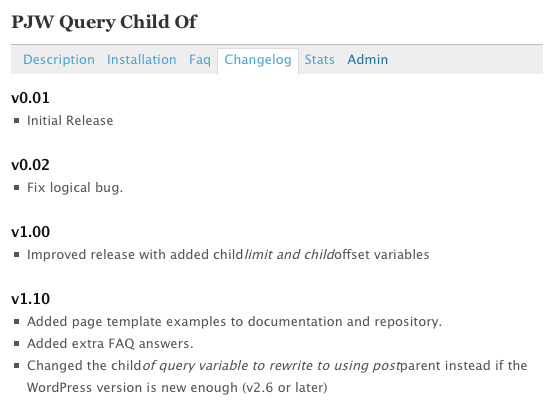 Changelog tab on the directory, via westi on wordpress
