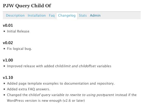Changelog tab on the directory, via westi on wordpress