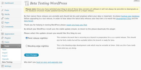 WordPress Beta Tester Admin