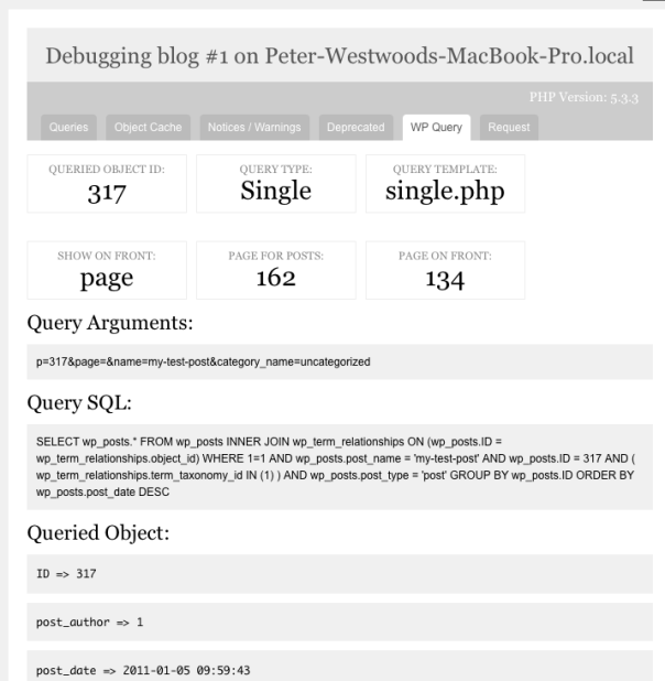 This shows the wp query tab of the debug bar